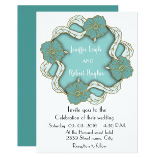 Turquoise Monogram floral wedding Card