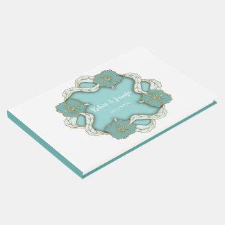 Turquoise Monogram floral wedding design Guest Book