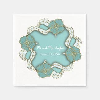 Turquoise Monogram floral wedding Disposable Napkin