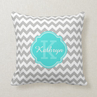 Turquoise Monogram Grey Chevron Pattern Cushion
