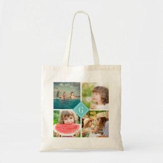 Turquoise Monogram Instagram Photo Collage Budget Tote Bag