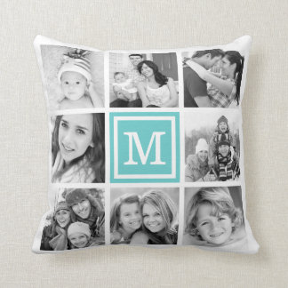Turquoise Monogram Instagram Photo Collage Throw Pillow