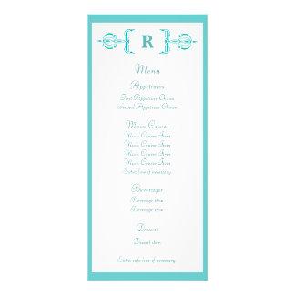 Turquoise Monogram Vintage Wedding Menu Rack Cards