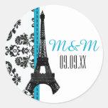 Turquoise Monogrammed Damask Eiffel Tower Wedding Round Sticker