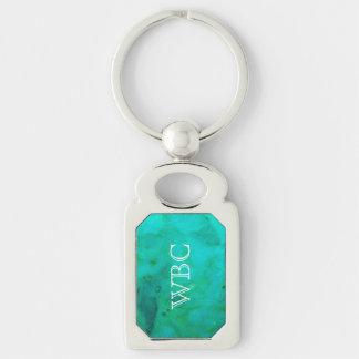 Turquoise Monogrammed Oblong Keyring