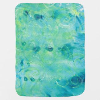 Turquoise Monoprint Baby Blanket