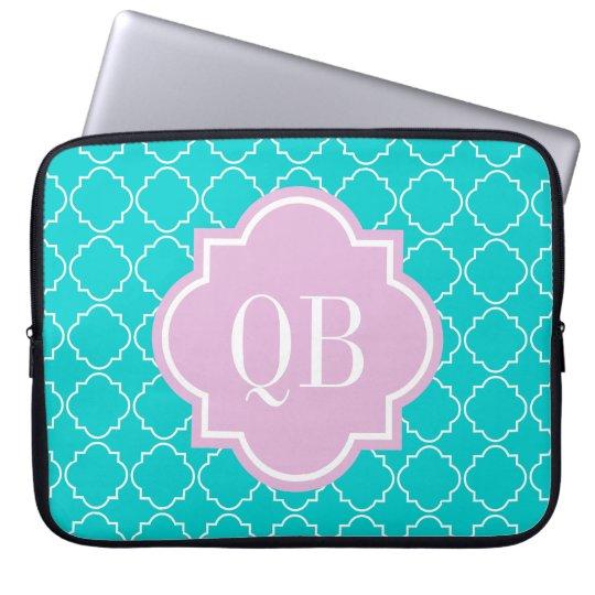 Turquoise moroccan lattice monogram laptop sleeve