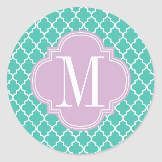 Turquoise Moroccan Tiles Lattice Personalized Classic Round Sticker