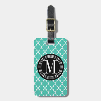 Turquoise Moroccan Tiles Lattice Personalized Luggage Tag