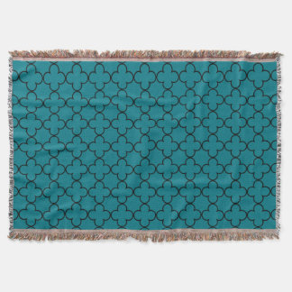 Turquoise moroccan trellis pattern throw blanket