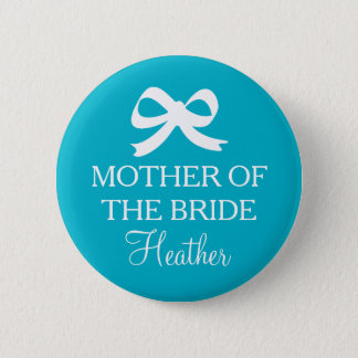 Turquoise Mother of the bride button for wedding