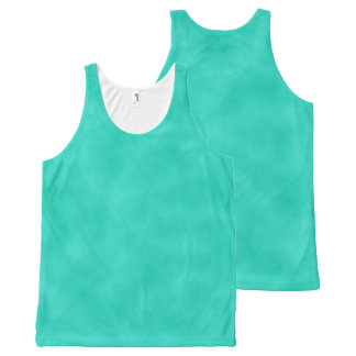 Turquoise Mottled Marbleized Swirls Clouds All-Over Print Singlet