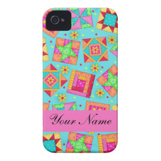 Turquoise Multi-color Quilt Patchwork Blocks iPhone 4 Cases