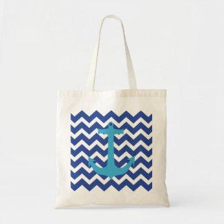 Turquoise Nautical Anchor Blue Chevron Tote Bag