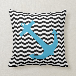 Turquoise Nautical Anchor Chevron Print Pillow