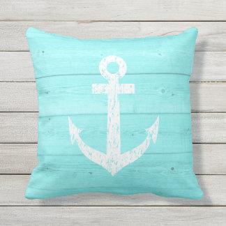 Turquoise nautical anchor outdoor throw pillow