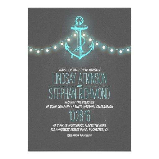 turquoise nautical chalkboard wedding invitation