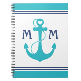 Turquoise Nautical Heart Anchor Notebook