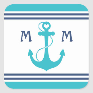 Turquoise Nautical Heart Anchor Square Sticker