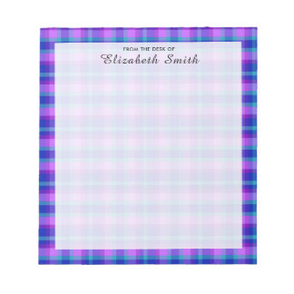 Turquoise Navy Blue Purple Lavender Plaid Girl Notepad