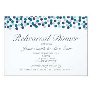 Turquoise Navy Grey Polka Dot Rehearsal Dinner Card