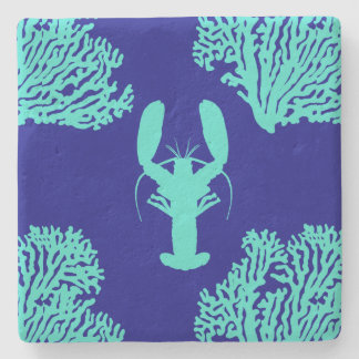 Turquoise Navy Lobster Coastal Pattern Stone Coaster