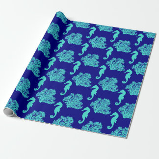 Turquoise Navy Seahorse Coastal Pattern Wrapping Paper