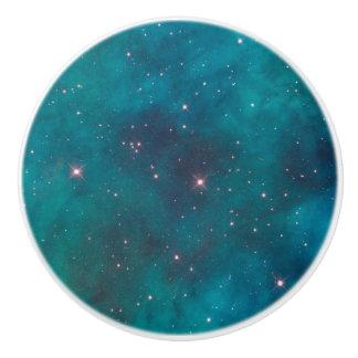 Turquoise Nebula Sparkling Stars Ceramic Pull