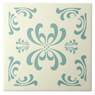 Turquoise Nouveau Flourish Ceramic Tile
