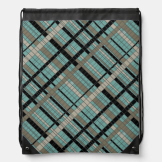 Turquoise Nuetrals Plaid Drawstring Backpack