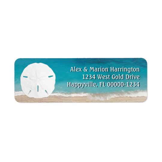 Turquoise Ocean Sand Dollar Return Address Return Address Label