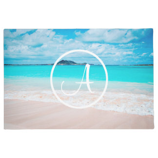 Turquoise ocean sandy beach photo custom monogram doormat