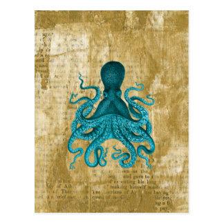 Turquoise Octopus on Golden Grunge Postcard