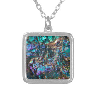 Turquoise Oil Slick Quartz Silver Plated Necklace