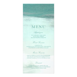 Turquoise Ombre Watercolor Beach Wedding Menu Customised Rack Card
