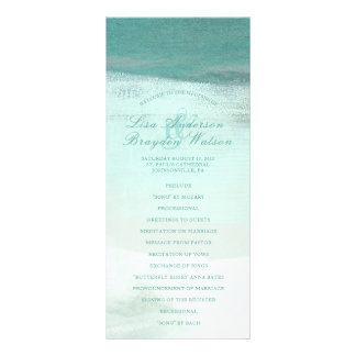 Turquoise Ombre Watercolor Beach Wedding Program Customised Rack Card
