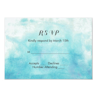 Turquoise Ombre Watercolor Wedding Card