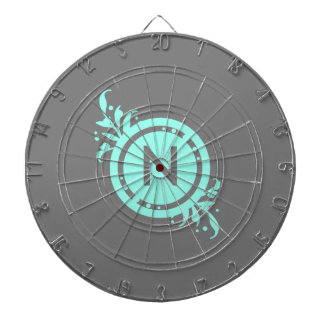 Turquoise on Grey Floral Monogram Dart Boards