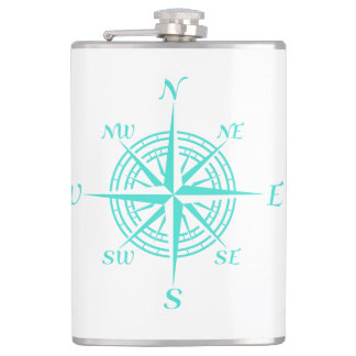 Turquoise On White Coastal Decor Compass Rose Flask