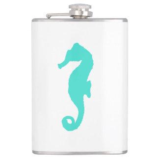 Turquoise On White Coastal Decor Seahorse Hip Flask