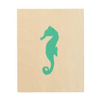 Turquoise On White Coastal Decor Seahorse Wood Canvas