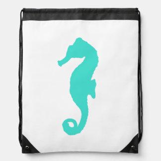 Turquoise On White Seahorse Drawstring Bag