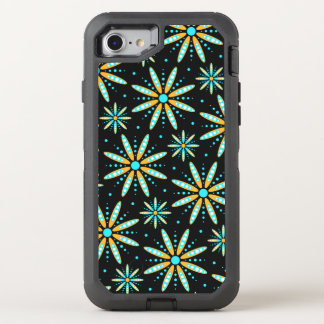 turquoise orange floral retro pattern OtterBox defender iPhone 7 case
