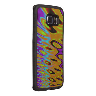 Turquoise Orange Green Abstract Wood Phone Case