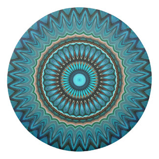 Turquoise Orange Green Mandala Round Star Pattern Eraser