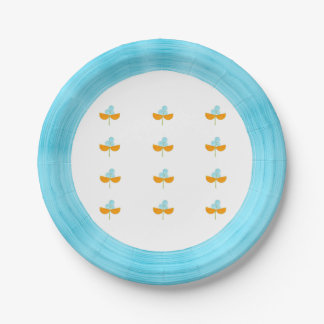 Turquoise orange watercolor flowers 7 inch paper plate