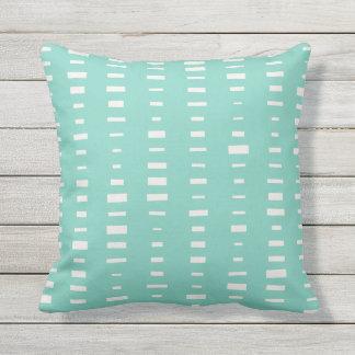 Turquoise Outdoor Pillows - Block Stripe