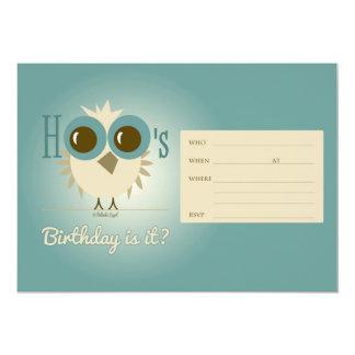 "Turquoise Owl Birthday Card Invitation Retro 5"" X 7"" Invitation Card"