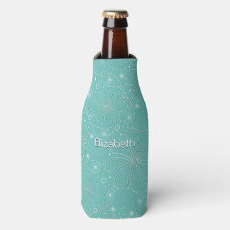 Turquoise Paisley Floral Hearts Pattern Bottle Cooler