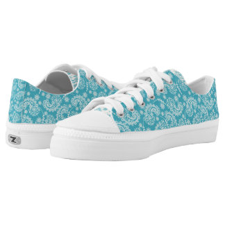 Turquoise Paisley ZipZ Tennis Shoes